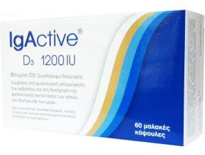 IgActive D3 1200iu Συμπλήρωμα Διατροφής Βιταμίνης D για την Φυσιολογική Απορρόφηση του Ασβεστίου από τον Οργανισμό 60softgels