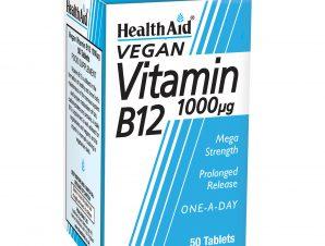 Health Aid Βιταμίνη B12 1000μg Καλή Λειτουργία Του Νευρικού Συστήματος 50tabs