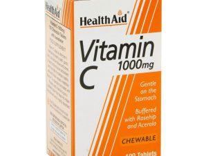 Health Aid Vitamin C 1000mg with Rosehip and Acerola Μασώμενη Βιταμίνη C με Αντιοξειδωτική Δράση 100 veg. tabs