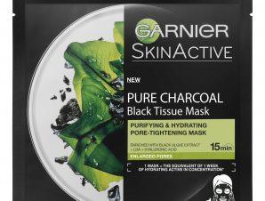 Garnier Pure Charcoal Black Tissue Mask Υφασμάτινη Μάσκα Καθαρισμού, Ενυδάτωσης & Μείωσης των Πόρων με Ενεργό Άνθρακα 28gr
