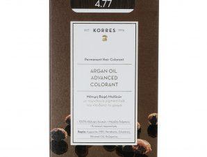 Korres Argan Oil Advanced Colorant Μόνιμη Βαφή Μαλλιών με Τεχνολογία Pigment-Lock που Κλειδώνει το Χρώμα 50ml – 4.77 ΣΚΟΥΡΟ ΣΟΚΟΛΑΤΙ