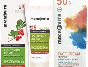 Macrovita Πακέτο Προσφοράς Lightening Cream Spf15, 50ml & Δώρο Suncare Face Cream Spf50, 50ml