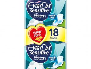 Every Day Sensitive Normal Ultra Plus Value Pack Πολύ Λεπτές Σερβιέτες με Βαμβακερό Κάλυμμα,Ιδανικές για Κανονική Ροή 18 Τεμάχια