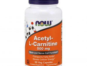 Now Foods Acetyl L-Carnitine 500mg Συμπλήρωμα Διατροφής που Διατηρεί την Σωστή Λειτουργία των Εγκεφαλικών Κυττάρων 50 vegcaps
