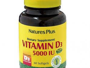Nature's Plus Vitamin D3 5000iu Συμπλήρωμα Διατροφής για Καλή Λειτουργία του Νευρικού Συστήματος, Υγιή Οστά & Δόντια 60caps
