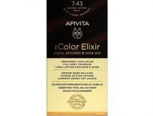 Apivita My Color Elixir Μόνιμη Βαφή Μαλλιών / No 7.43 Ξανθό Χάλκινο Μελί