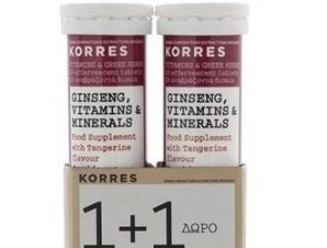 Korres 1+1 Ginseng, Vitamins & Minerals. 2×18 Αναβράζοντα Δισκία.