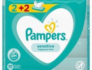 Pampers Baby Wipes Sensitive – Μωρομάντηλα 2+2 Δώρο – 4×52τμχ.