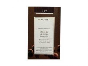 Korres N:4.77 (Σκούρο Σοκολατί). Νέα Μόνιμη Βαφή Μαλλιών με Έλαιο Argan.