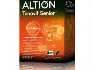 ltion Tonovit Senior / Ολοκληρωμένο Πολυβιταμινούχο Συμπλήρωμα διατροφής με Omega-3, λιπαρά οξέα, ginkgo biloba, λουτεϊνη panax ginseng & συνένζυμο Q10 / 40caps- Ειδικές βιταμίνες για άτομα άνω των 50 ετών.