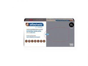 Alfashield Alfa Gloves Latex Gloves ( XL) Powder Free 100pcs (Εξεταστικά Γάντια latex χωρίς Πούδρα X-Large 100τμχ)