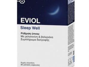 Eviol Sleep Well Συμπλήρωμα Διατροφής με Μελατονίνη και Βαλεριάνα για τη Ρύθμιση του Ύπνου 30 Κάψουλες.