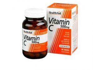 Health Aid Vitamin C Chewable 500mg with Rosehip & Acerola 60tabs
