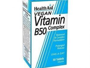Health Aid Vitamin B50 Complex, 30 Vegan ταμπλέτες,Ενισχυμένος συνδυασμός βιταμινών του συμπλέγματος Β