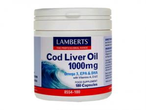 Lamberts – Cod Liver Oil 1000mg -Μουρουνέλαιο πενταπλής μοριακής απόσταξης 180caps