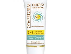 Coverderm Filteray – Face Plus spf50 με Χρώμα (Light Beige) – 2 in1 Sunscreen & After Sun -50ml ( Για λιπαρό/Ακνεϊκό δέρμα )