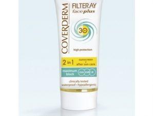 Coverderm Filteray – Face Plus spf30 με Χρώμα (Soft Brown) – 2 in1 Sunscreen & After Sun -50ml ( Για Κανονικές Επιδερμίδες )