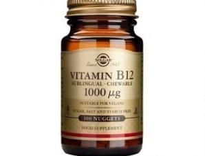 Solgar Vit. B12 1000μg, 100 nuggets. Για την ομαλή λειτουργία του νευρικού συστήματος και στις ψυχολογικές λειτουργίες, ενισχύει την υγεία της καρδιάς.