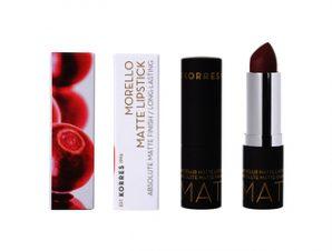 Korres Morello / Matte Lipstick 55 Burgundy Leather- 3.5g
