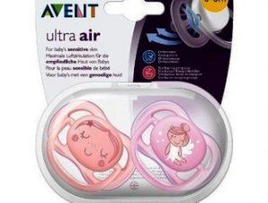Avent Ultra Air / 0-6m SCF345/20 Ορθοδοντική Πιπίλα Σιλικόνης σε Ροζ & Λιλά 2τμχ