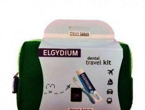 Elgydium Dental Travel Kit με Elgydium Pocket Οδοντόβουρτσα Ταξιδιού, Antiplaque Οδοντόκρεμα,50ml & Dental Floss Black Οδοντικό Νήμα 5m σε πράσινο τσαντάκι.