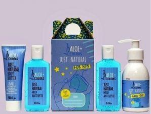 Aloe+Colors Back to School – Just Natural Gift box for Him – Το πακέτο περιέχει : 2 αντισηπτικά 85ml 1 mini butter 50ml 1 κρεμοσάπουνο -150ml