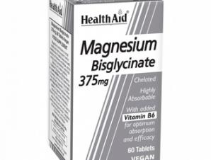 Health Aid Magnesium Bisglycinate 375mg & Vitamin B6, Χηλικό Μαγνήσιο & Βιταμίνη Β6, 60Tabs / Για την Μείωση της κούρασης των μυών και του νευρικού συστήματος