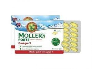 Moller's – Forte Ιχθυέλαιο + Μουρουνέλαιο Omega 3, 30 caps