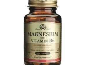 Solgar Magnesium + B6, 100tabs – Συμπλήρωμα για την Καταπολέμηση των Ημικρανιών και την Μείωση των Κραμπών