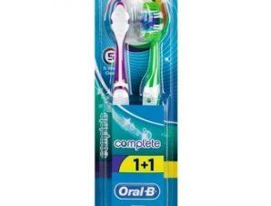 Oral-B Complete 5 Way Clean Οδοντόβουρτσα 40 Μέτρια 1+1 δώρο(πράσινη-πράσινη) , 2 τεμάχια