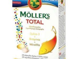 Moller's Total -Ολοκληρωμένο Συμπλήρωμα Διατροφής – Ωμέγα -3 +Βιταμίνες + Μέταλλα / 28caps Ωμέγα -3 + 28tabs Βιταμίνες +Μέταλλα / 1+1 την Ημέρα.