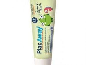 Plac Away Junior Teeth Οδοντόκρεμα με ευχάριστη γεύση πορτοκαλιού, 50ml