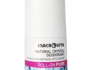 Macrovita Natural Crystal Deodorant Φυσικός Αποσμητικός Κρύσταλλος Roll-On Άρωμα Pure 50ml